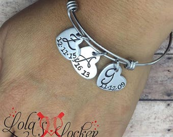 Hand stamped Personalized Initial Bangle with Date