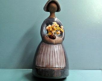 Large Swedish vintage 1980s Jie Gantofta Elsi Bourelius design handmade ceramic flower woman figurine