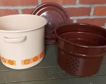 Enamelware Pot Vintage 1970's Orange Flower Patterned Brown and Beige Large Steamer Pasta Stock Pot with Handles