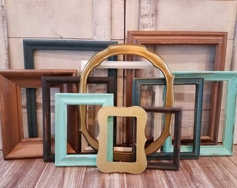 Gallery Wall Frame Set Copper/ Teal/ Gold/ Distressed Frames /Open Frames /Wall Collage Photo Frame Set/ Picture Frames/ Wall Decor/ Custom