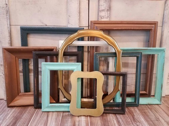 gallery wall frame set copper teal gold distressed frames open frames wall collage photo frame set picture frames wall decor custom from - Distressed Picture Frames