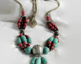 Vintage Beaded Necklace Tribal Turquoise Red Silver Woven Rope Hemp Macrame  Glass Clay