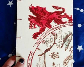 Dragon Coptic Stitch Sketchbook: blank pages, handmade, journal, lithography, printmaking, bookmaking, hand bound, sewn