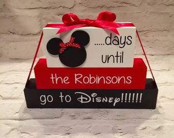Disney countdown days until disney block plaque personalised mickey minnie chalkboard