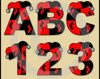 Harley Quinn (Batman) Alphabet Letters & Numbers Clip Art Graphics