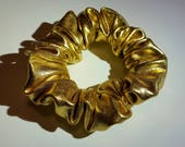 Metallic Gold PVC Shiny Hair Scrunchies Grunge 90s Sassy Queen Kawaii Ties Bun Wraps Elastics Girl Gang Soft Accessory Cute Vintage Style