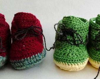 Baby Boots, Crochet, Merino