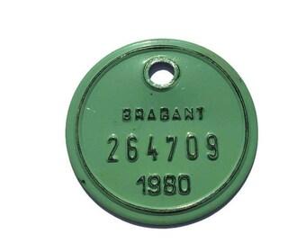 Metal Bicycle Licence Tax Plate . Vintage Belgian European Bike Tag .  Brabant 1986 Green .