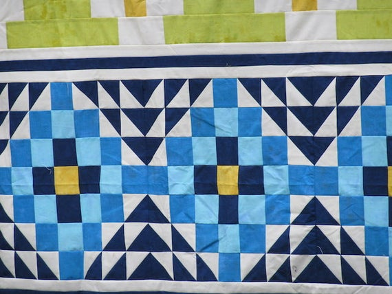 Mayan Mosaic Lap Size Quilt Kit. Modern Tribal Home Decor, Fabric And Pattern For Home Sewing and Quilting Rows Of Aztec Triangle Designs