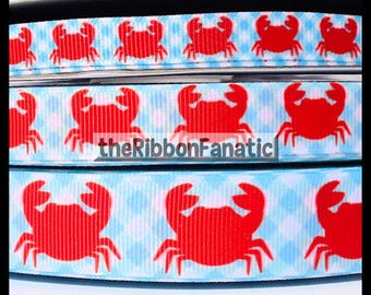 "5 yds 3/8"" 5/8"" or 7/8"" Red Crabs on Aqua Blue Gingham Preppy Nautical Grosgrain Ribbon"