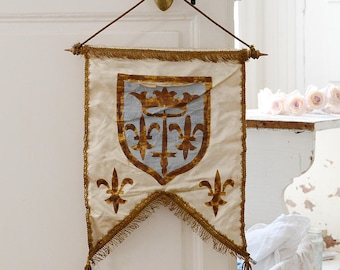 Rare Antique French Silk Royalty Banner