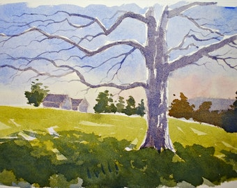The tree original watercolor painting home decor painting tree landscape English art england landscape english art english countryside