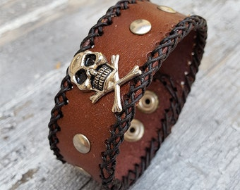 Steampunk Punk Skull Leather Wristband Cuff -Steampunk Bracelet-Steampunk cuff-steampunk Girlfriend Ladies gift