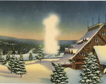 Yellowstone National Park Old Faithful Inn & Geyser in Winter Wyoming Vintage Postcard (unused)