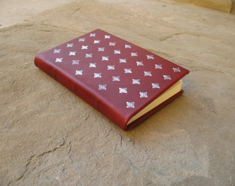 Leather journal 21 x 14.5 cm with impressed metal foil diary scketchbook gift idea