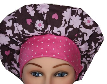 Medical Scrub Cap Surgical Scrub Hat Chemo Chef Nurse Hat Tie Back Bouffant Pink Brown Poodles Dogs Hearts 2nd Item Ships FREE