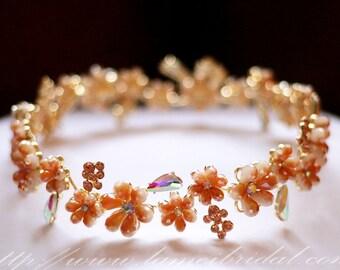 Sparkly Blush Gold Wedding crown, Peach Flower Girl Crown, Flower Girl, Flower Crown, Children's Hair Wreath, Flower Girl Circlet