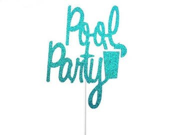 Pool Party Cake Topper- Any Color Glitter