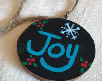 Handmade Painted Wood Slice Christmas Ornament - Joy