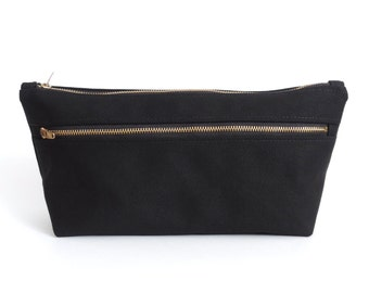 Canvas Toiletry Bag Double Zipper Dopp Kit Black