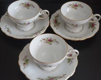 Vintage, Set of Three Johann Haviland Bavaria Germany Moss Rose Teacup and Saucer Sets