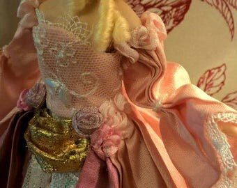 Dollhouse wearable Silk Gown Marie Antoinette made to order. TWO ways to wear.