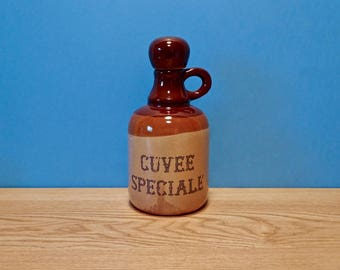"French Ceramic Wine Bottle / Pitcher / Decanter with Cork Stopper ""CUVÉE SPÉCIALE"""