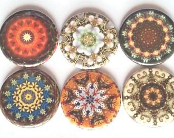 Mandala Magnets, Talavera Magnets, Refrigerator Magnets, Fridge Magnets, Decorative Magnets, Mandalas Magnets, Kaleidoscope Magnet, Set of 6