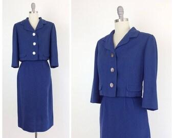 50s Blue Wool Dress Suit / 1950s Vintage Two Piece Skirt & Jacket Set / Medium / Size 6