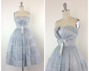 50s Light Blue Ruffled Chiffon Prom Dress / 1950s Vintage Strapless Cupcake Party Dress / Small / Size 4