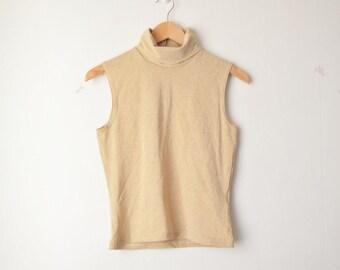 gold shiny mock turtleneck sleeveless shirt top 70s // S-M