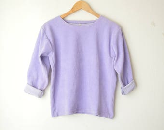 pastel purple ribbed velvet plush sweater top 90s // M
