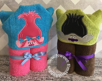 Poppy And Branch Hooded Towels Inspired By The New Trolls Movie/ Hooded Towel/Childs Hooded Towel/ With Or Without Personalization