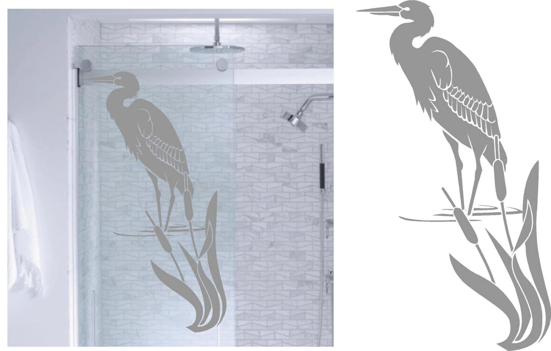 heron marsh diy etched glass vinyl privacy film glass door decals sliding door decal door stickers sliding glass shower