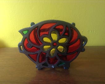 Vintage Piggy Napkin Holder Stained Glass