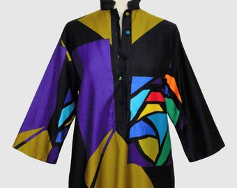 Penthouse Gallery Vintage 1980s Tunic Caftan Dress Catherine Ogust Cotton Mod Geometric Stained Glass Print Forever Dress USA Small