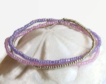 Seed bead bracelet set in purple pink and silver, everyday stretch bracelet, dainty bohemian bracelet