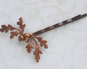 Copper Oak Leaves and Acorn  Hair Pin, Bobby Pin, Woodland, Rustic, Garden Wedding Hair Clip, Vintage Bridal Hair, Forest