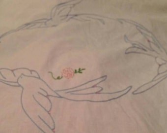 """88"""" across x 84"""" Bluebird Counted Cross Stitch Bed Cover. Would fit King."""