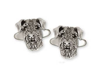 Airedale Terrier Cufflinks Jewelry Sterling Silver Handmade Dog Cufflinks AR5-CL