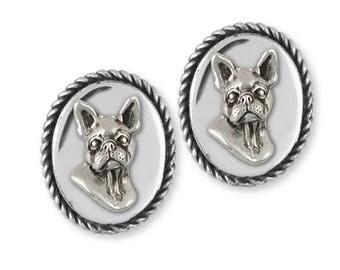 Boston Terrier Cufflinks Jewelry Sterling Silver Handmade Dog Cufflinks BT16-CL