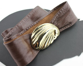 """Gold Seashell Buckle on Brown Leather Belt - adjustable length up to 37"""""""