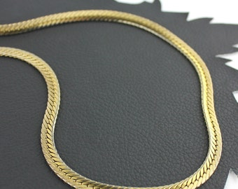 Gold Colored Flat Chain Vintage Necklace