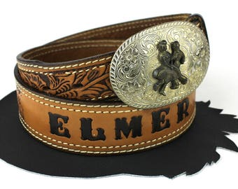Square Dancers Buckle on Personalized Elmer Brown Leather Tooled Belt size 38
