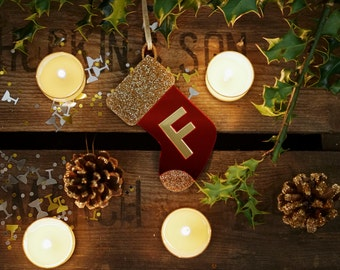 Personalised Initial Christmas Stocking, Christmas Stocking Decoration, Christmas Tree Decoration, Stocking Christmas Ornament