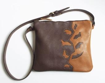 Leather crossbody bag. Brown tan leather purse. Applique cross body bag.