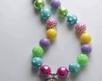 Easter Bunny Egg Boutique bubblegum chunky necklace little girl photo prop jewelry gift spring pink blue green rhinestone