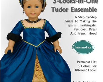 Pixie Faire Read Creations 3 Looks-In-One Tudor Ensemble 18 Inch Doll Clothes Pattern fits American Girl Dolls - PDF Download