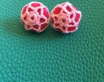 Pink Crochet Clip On Earrings