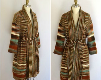 70s Oversized Italian Wool Blend Sweater Coat/ Striped Wool Cardigan/ Womens Size Medium